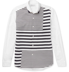 Tomorrowland - Striped Tricot-Panelled Cotton-Poplin Shirt