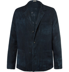 Massimo Alba Blue Unstructured Hand-Painted Linen Blazer