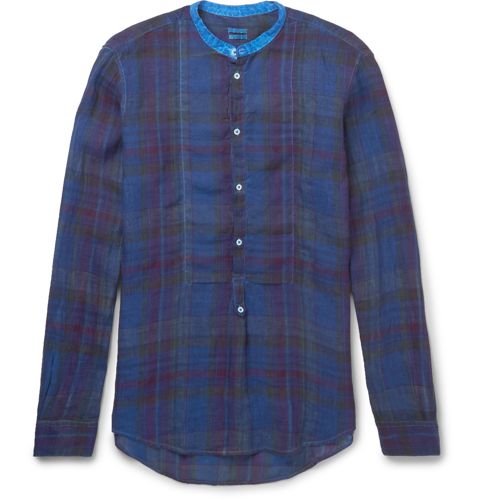 Driving gloves styleforum - Massimo Alba Grandad Collar Madras Checked Washed Linen Shirt