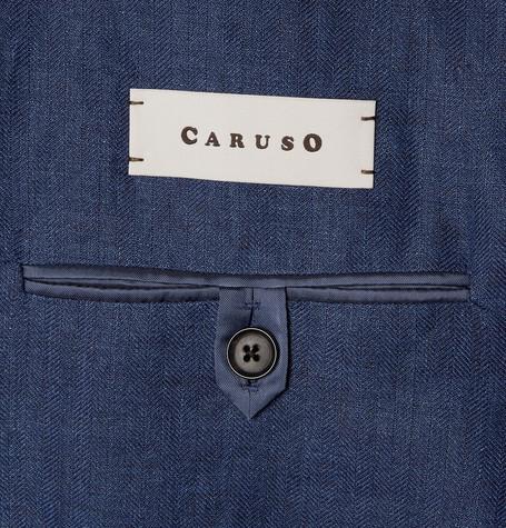 Blue Slim-Fit Contrast-Stitched Herringbone Linen Blazer