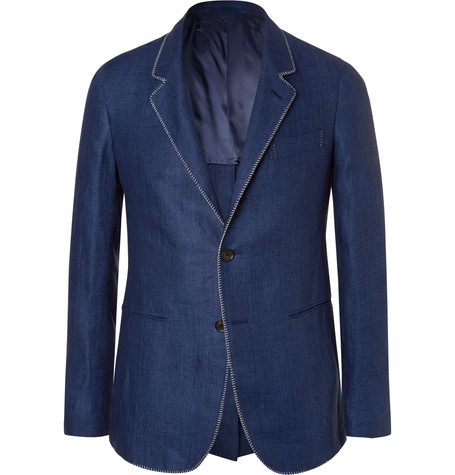 Blue Slim-Fit Contrast-Stitched Herringbone Linen Blazer