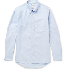 visvim Albacore Button-Down Collar  Denim-Panelled Cotton-Oxford Shirt