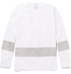 visvim Slim-Fit Collarless Stripe-Trimmed Cotton-Poplin Shirt