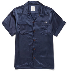 visvim Irving Camp-Collar Embroidered Satin Shirt