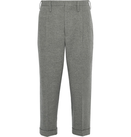 Visvim Wide-Leg Cropped Wool And Linen-Blend Trousers In Gray