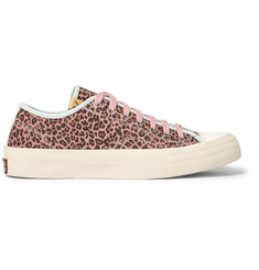 visvim Skagway Leather-Trimmed Leopard-Print Suede Sneakers