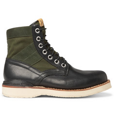 visvim Folk Canvas-Panelled Leather Boots