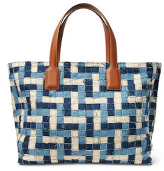Loewe - T Leather-Trimmed Woven Denim Tote Bag