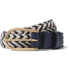 Loewe - 3.5cm Woven Leather and Linen Belt