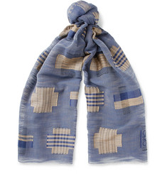 Loewe Embroidered Cotton-Voile Scarf