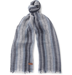 Loewe Striped Linen and Silk-Blend Scarf