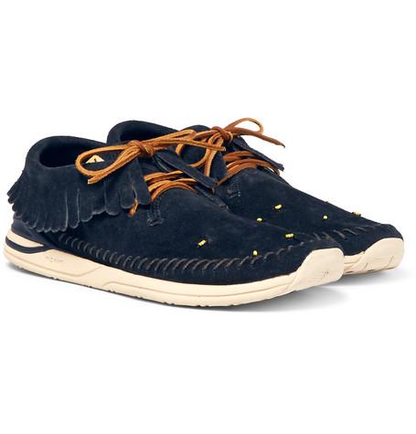 Maliseet Shaman-folk Beaded Suede Sneakers - NavyVisvim LnbFsCM