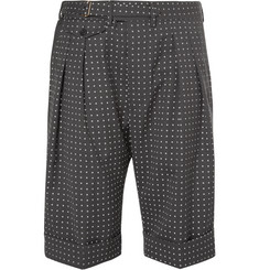 Wooster + Lardini Grey Polka-Dot Wool Shorts