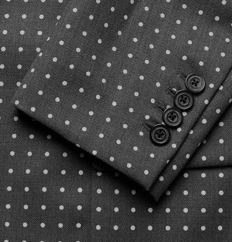 WOOSTER + LARDINI Grey Polka-Dot Wool Blazer