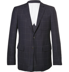 Wooster + Lardini Blue Slim-Fit Windowpane-Checked Wool Blazer