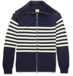 Wooster + Lardini Striped Cotton Zip-Up Cardigan