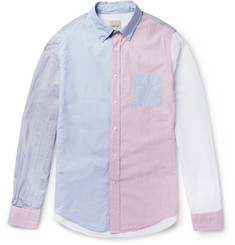 Wooster + Lardini Slim-Fit Colour-Block Striped Cotton Shirt
