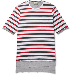 Wooster + Lardini Layered Striped Cotton-Jersey T-Shirt