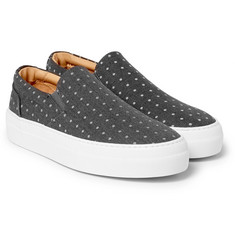 Wooster + Lardini Polka-Dot Canvas Slip-On Sneakers