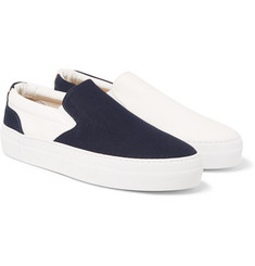 Wooster + Lardini - Two-Tone Canvas Slip-On Sneakers