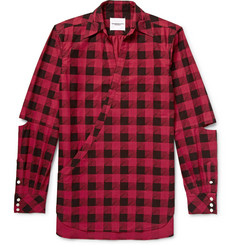 TAKAHIROMIYASHITA TheSoloist. Cutout Checked Cotton-Flannel Shirt