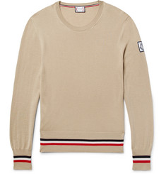 Moncler Gamme Bleu Striped Cashmere and Silk-Blend Sweater