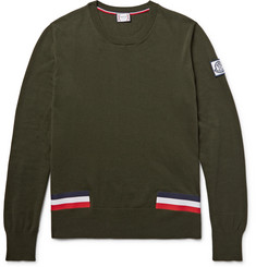 Moncler Gamme Bleu Stripe-Trimmed Cotton Sweater