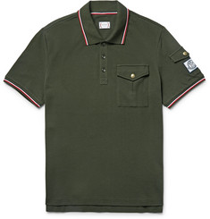 Moncler Gamme Bleu - Slim-Fit Contrast-Tipped Cotton-Piqué Polo Shirt