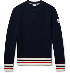 Moncler Gamme Bleu Stripe-Trimmed Waffle-Knit Cotton Sweater