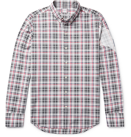 Moncler Gamme Bleu Slim-fit Button-down Collar Checked Cotton Shirt In Dark Gray