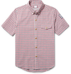 Moncler Gamme Bleu Slim-Fit Button-Down Collar Checked Cotton-Seersucker Shirt
