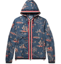 Moncler Anton Slim-Fit Webbing-Trimmed Printed Shell Hooded Jacket