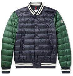 Moncler Enrick Slim-Fit Stripe-Trimmed Quilted Shell Down Bomber Jacket