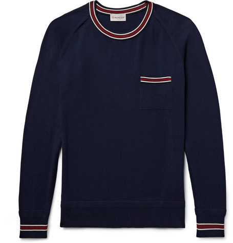 Moncler Slim-Fit Contrast-Trimmed Cotton Sweater, Navy