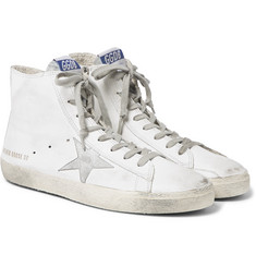 Golden Goose Deluxe Brand - Francy Distressed Leather and Suede High-Top Sneakers