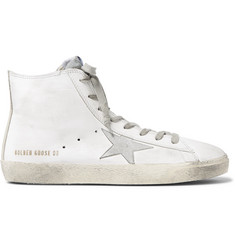 Golden Goose Deluxe Brand Francy Distressed Leather and Suede High-Top Sneakers