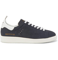 Golden Goose Deluxe Brand Starter Leather-Trimmed Perforated Suede Sneakers