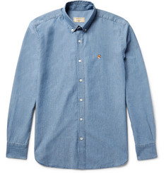Maison Kitsuné - Slim-Fit Button-Down Collar Cotton-Chambray Shirt