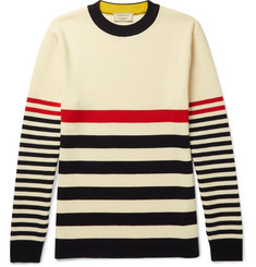 Maison Kitsuné Striped Knitted Wool Sweater