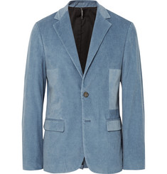 Helbers Blue Slim-Fit Washed Cotton-Blend Corduroy Blazer
