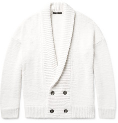 Helbers Shawl-Collar Double-Breasted Cotton, Silk and Cashmere-Blend Cardigan