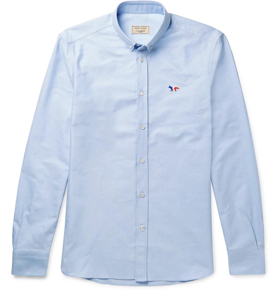 Maison Kitsuné Slim-Fit Button-Down Collar Logo-Appliquéd Cotton Oxford Shirt