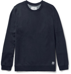 Folk Elbow-Patch Cotton-Blend Jersey and Shell Sweatshirt