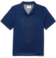 Folk Piano Camp-Collar Cotton Shirt