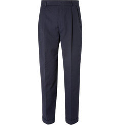 Paul Smith Blue Tapered Pleated Stretch-Cotton Seersucker Trousers