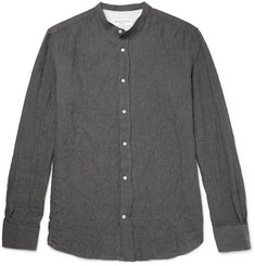 Officine Generale Grandad-Collar Textured Herringbone Cotton-Blend Shirt