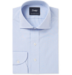 Drake's Blue Slim-Fit Bengal-Striped Cotton Shirt