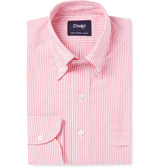 Drake's Red Slim-Fit Button-Down Collar Cotton Oxford Shirt