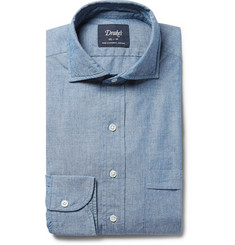 Drake's Blue Cutaway-Collar Cotton-Chambray Shirt
