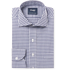 Drake's Blue Slim-Fit Gingham Cotton-Poplin Shirt